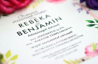 Egyedi esküvői meghívó Rebeka
