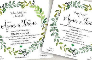 Egyedi esküvői meghívó Ágnes
