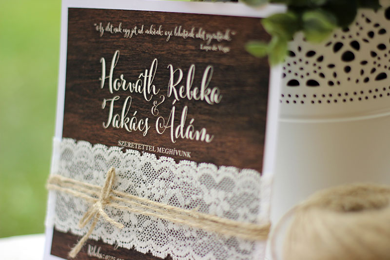 Csipkés esküvői meghívó