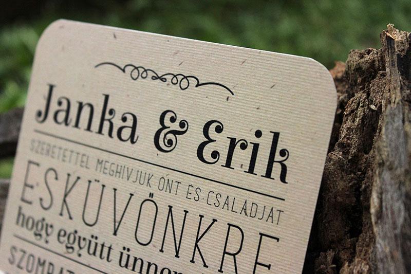Lekerekített esküvői meghívó