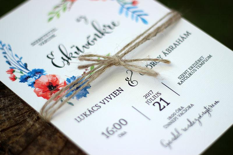 Letisztult esküvői meghívó