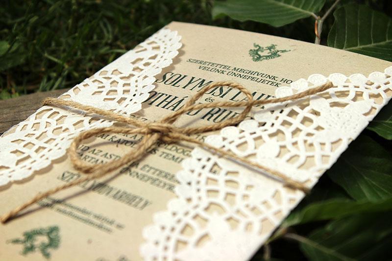Vintage natúr esküvői meghívó