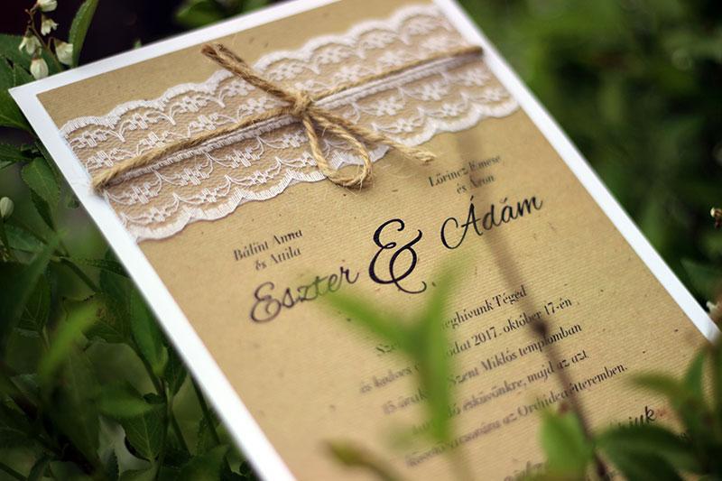 Vintage csipkés esküvői meghívó