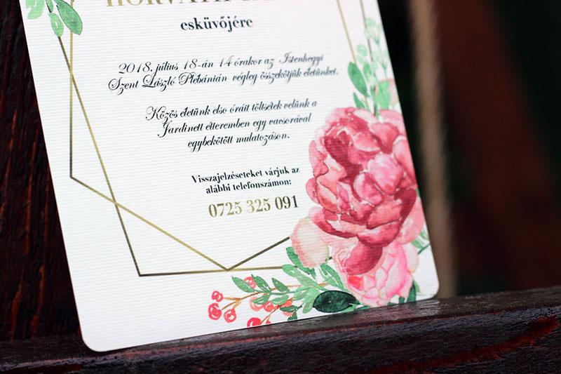Rózsás Esküvői meghívó - Kód 022