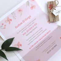Modern - virágos Esküvői meghívó - Kód 025