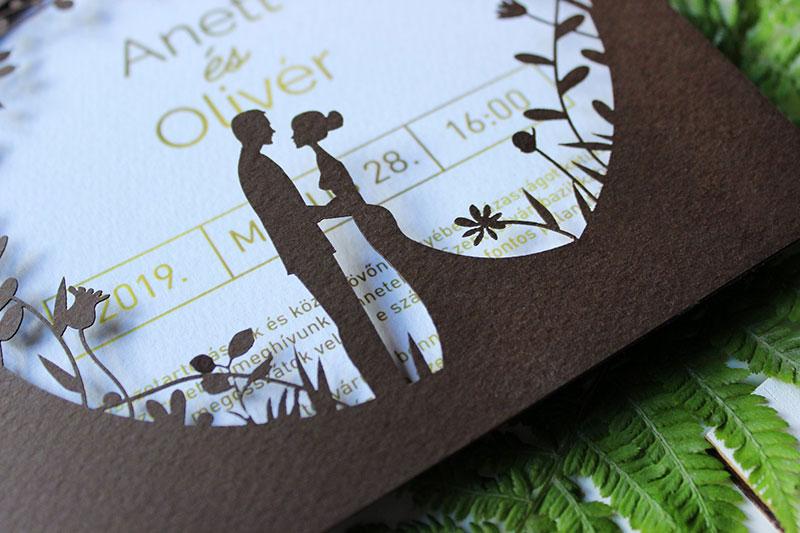 Gravírozott - Modern Esküvői meghívó - Kód 027
