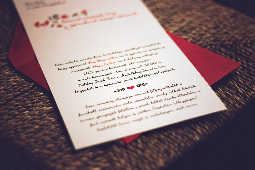 Hajnalka és Csaba esküvői meghívója