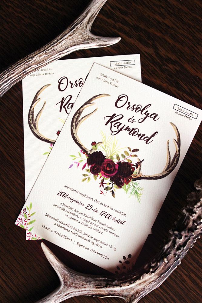 Orsolya és Rajmond esküvői meghívója