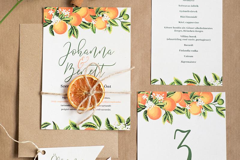 Narancsos egyedi esküvői arculat