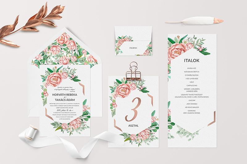 Egyedi esküvői arculat rózsával