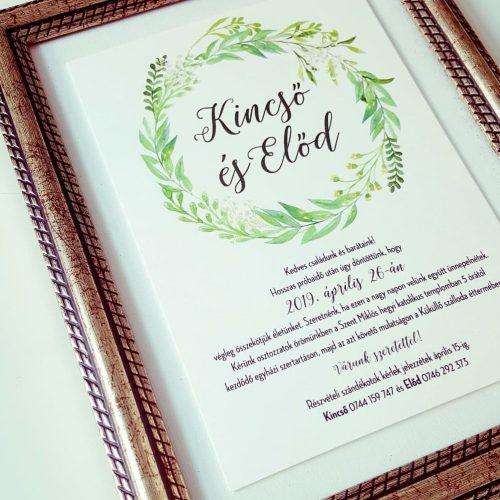 Kincső és Előd esküvői meghívó
