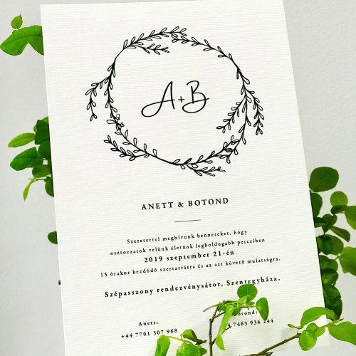 Anett és Botond esküvői meghívó