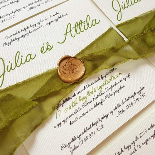 Júlia és Attila esküvői meghívó