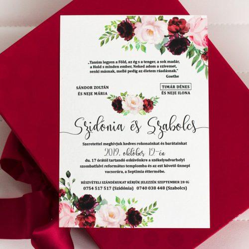 Szidónia és Szabolcs esküvői meghívó