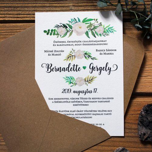 Bernadette és Gergely esküvői meghívó